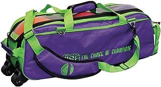 Vise Clear Top 3 Ball Roller Bowling Bag- Grape/Green