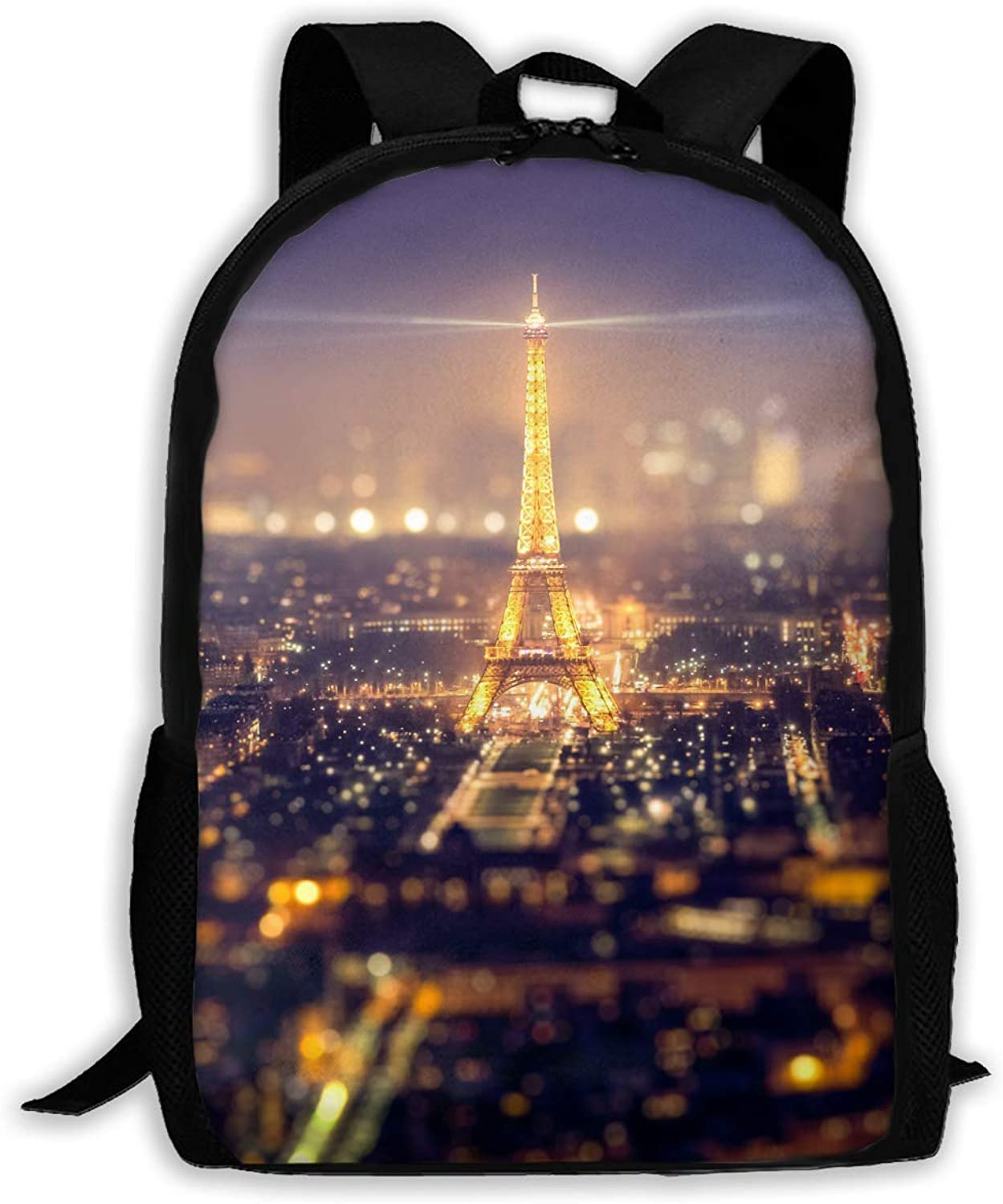 Funny Eiffel Tower Night Night Night Printed Backpack Waterproof Lightweight Canvas Hiking Bags for Men and damen B07QJWGPP8  Verrückter Preis 0df88d