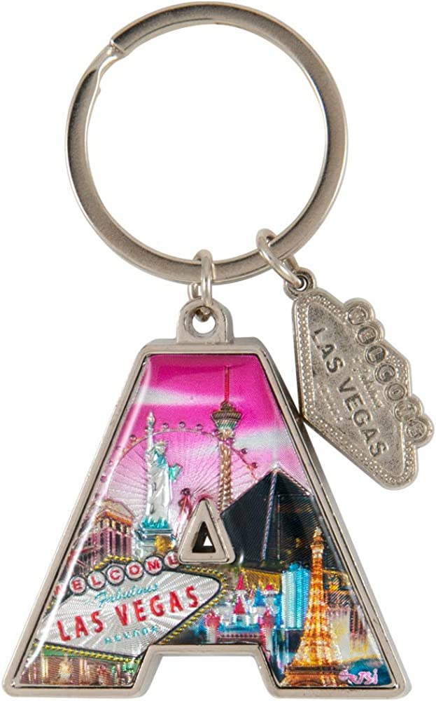 Las Vegas Initial Letter Alphabet Keychain with Las Vegas Welcome Sign Charm