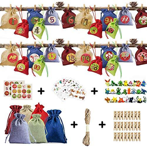 24 Calendario de Adviento-Saquitos de Tela para con 24 Adhesivos Digitales de Adviento, 24 Pokemon Figuras, 12 Navidad Adhesivos DIY Bolsa para Regalo Navidad, Arbol de Navidad Decoracion