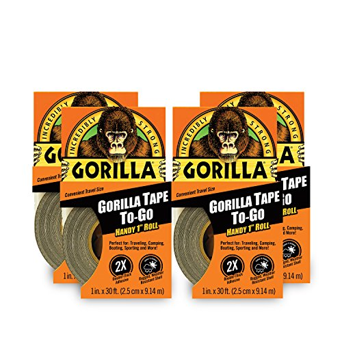 """Gorilla Tape, Mini Duct Tape To-Go, 1"""" x 10 yd Travel Size, Black, (Pack of 4)"""