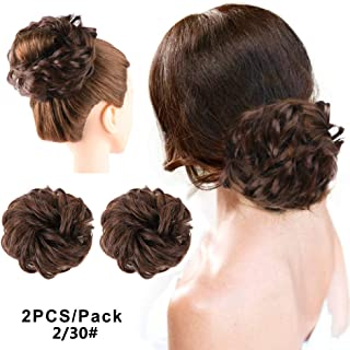 2PCS Messy Buns Hair Piece Curly Wavy Updo Synthetic Donut Chignon Hairpiece Scrunchie Hairpieces for women(2-30)