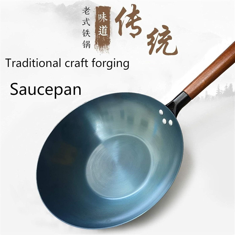 Cas de fer de haute qualité Wok Wok traditionnel Fer à faire à la main Wok NO-Stick Pan Non-Revêtement Induction et cuisson à gaz (Color : Saucepan 31.2 CM) Shovel B