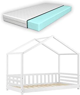 Lit d'enfant Design Forme Maison avec Barrière de Protection Anti-Chutes et Matelas Orthopédique Lit Cabane avec Sommier à...