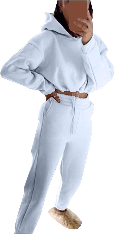 BIBOKAOKE Damen Freizeitanzug Sportanzug kurzes Tunikaelastischer Bund-Kordelzug Kapuzenpullover Fitnessanzug Sweatshirt Einfarbig Sport Hoodie mit Taschen