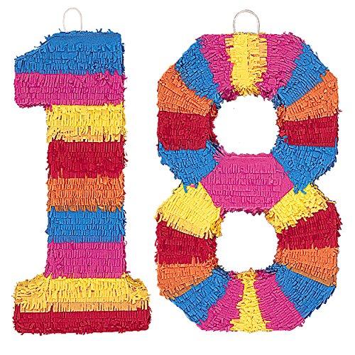 Piñata Zahl - der knallbunte Partyspass für einen tollen Geburtstag (#18)