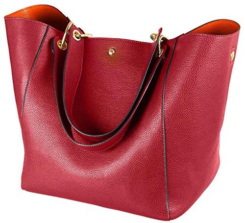 SQLP Taschen Damen Groß Leder Arbeit Handtasche Fashion Shopper Henkeltasche Student Schultasche für Damen Schultertaschen Weich Umhängetasche-Rot
