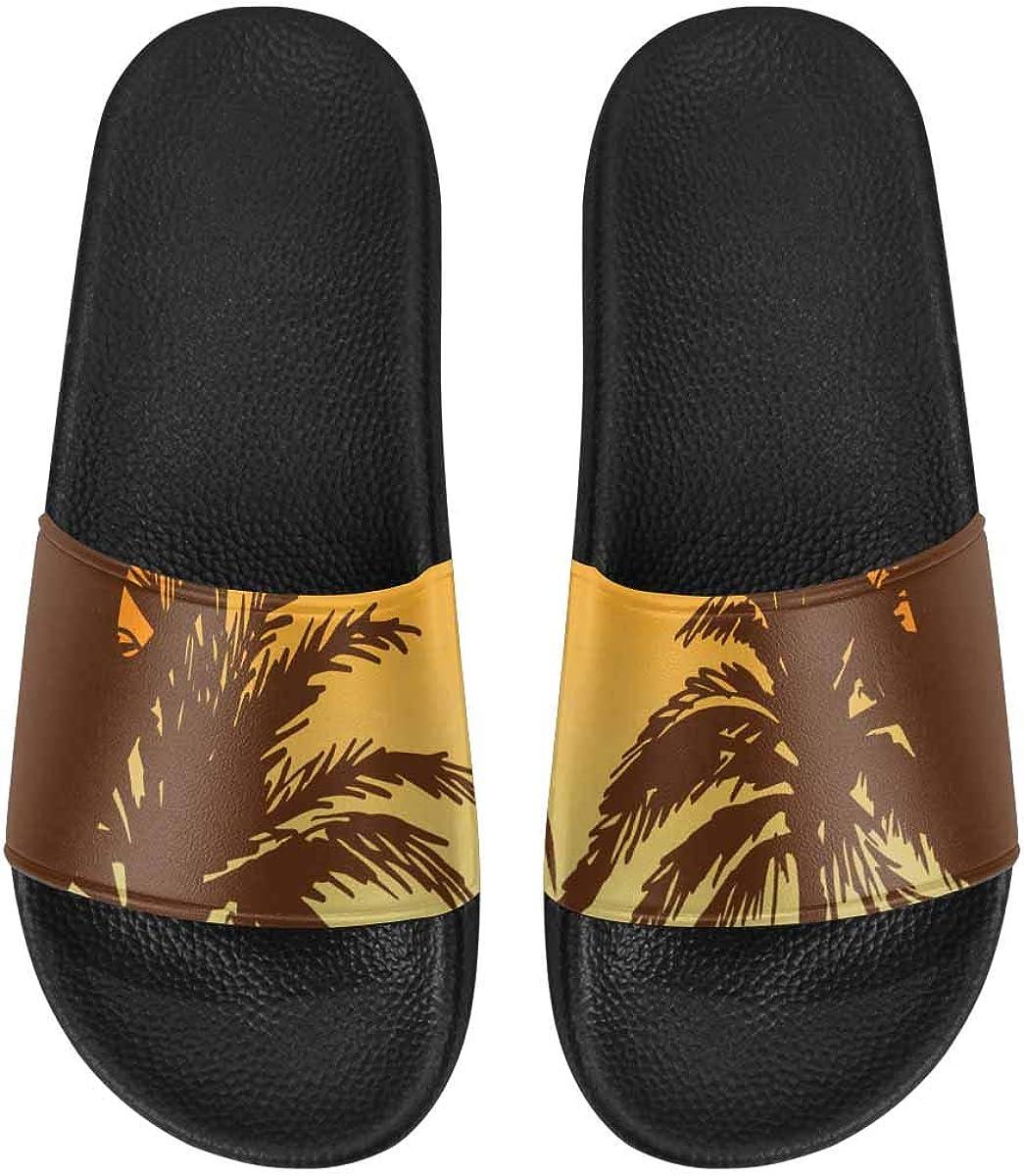 InterestPrint Women's Stylish Slipper Sandals for Summer Tropical Palms Summer