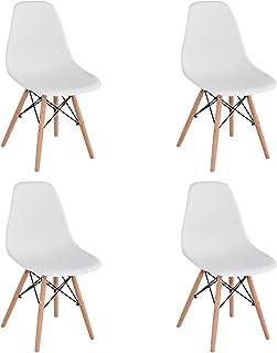 BenyLed Juego de 4 Sillas de Comedor de Plástico Contemporáneo, Diseño Retro, para Comedor, Cocina, Oficina, Restaurante, ...