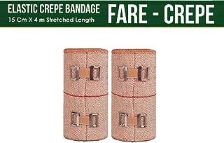 FARE - Reusable Cotton Crepe Bandage 10cm X 4m Roll Sports Wrist Wrap Straps, Elastic Compression with Bandage Clips (10m X 4m Set 2)