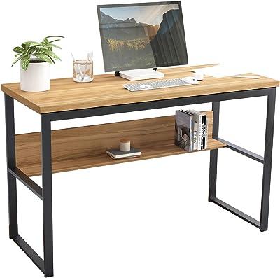 sogesfurniture BHEU-LD-JB01-120OK Bureau pour ordinateur portable 120 x 55 cm avec étagère en bois et acier Chêne