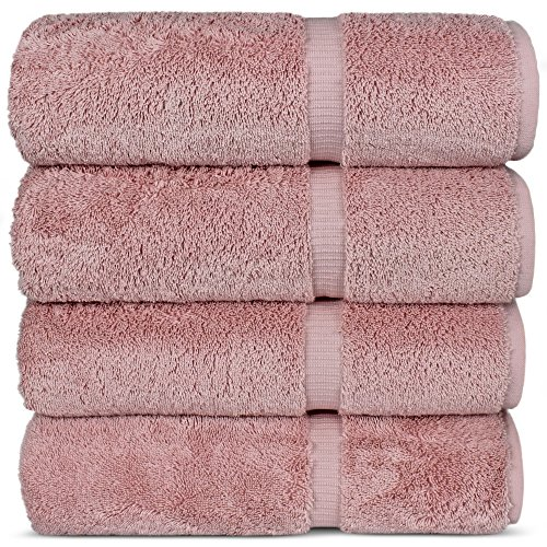 Chakir Turkish Linens Hotel & Spa Quality, Highly Absorbent 100% Cotton Turkish Towel Set (Set of 4, Pink)