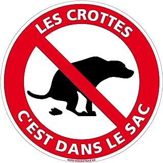 Panneau Les Crottes C'est dans Le Sac - Diamètre 240 mm, Plastique PVC 1 mm