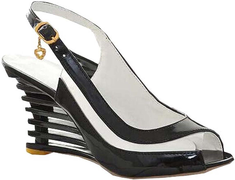 Summer Women High Wedge Heel Sandals Brand New Patent Leather Sandals