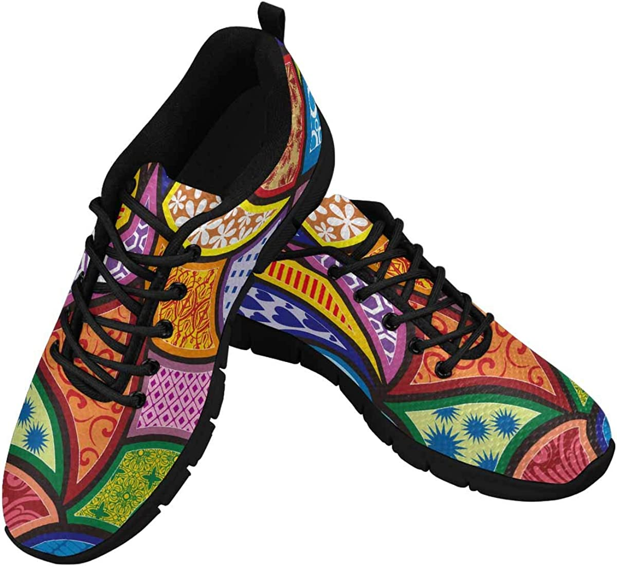 INTERESTPRINT Colorful Flower Women's Lace Up Breathable Non Slip Sneaker