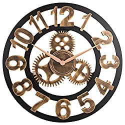 Oldtown Clocks 23 inch Noiseless Silent Gear Wall Clock - Large 3D Retro Rustic Country Decorative Luxury Art Big Wooden Vintage for House Warming Gift, (Number-Anti-Bronze)