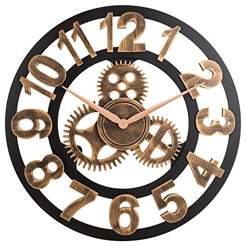 Oldtown Clocks 23' inch Noiseless Silent Gear Wall Clock - Large 3D Retro Rustic Country Decorative Luxury Art Big Wooden Vintage for House Warming Gift, (Number-Anti-Bronze)