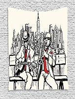 Afccia 音楽タペストリー、ジャズの男性バンドの夜のレトロなスタイルのイラストプリント、ニューヨークのベッドルームのリビングルームのパーティーのための赤い黒の装飾で演奏ビート