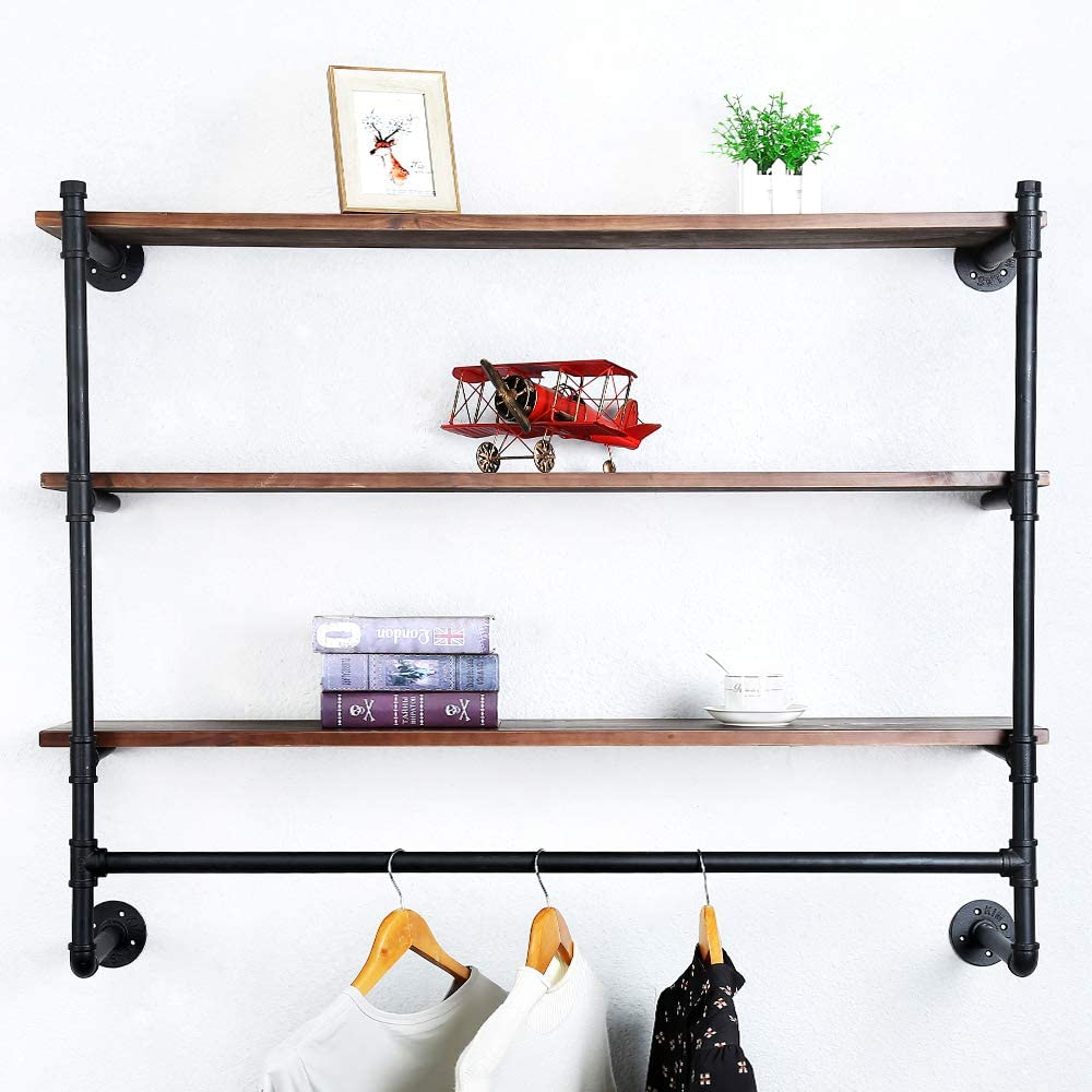 Buy Industrial Pipe Clothing Rack Wall Mounted with Real Wood ...