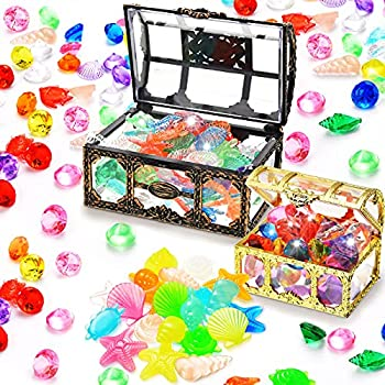 Dive Gem Pool Toys Treasure Chest 130 Pieces Colorful Diamond Set and 2 Treasure Box Gem Pirate Diving Toys Set Underwater Swimming Toy for Summer Swimming Party Favor Supplies