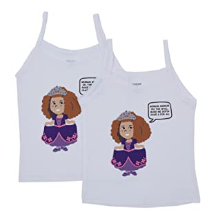 طقم فانلة داخلية قطن مطبوعة بحمالات رفيعة وفيونكة امامية للبنات من ترايمون ملابس داخلية للاطفال The Princess، قطعتين