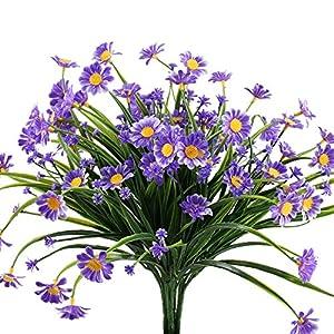 NAHUAA 4PCS Fake Daisy Flowers for Outdoor Purple Artificial Plastic Plants Greenery UV Resistant Shrubs Table Centerpieces Arrangements Home Kitchen Garden Spring Farmhouse Decor