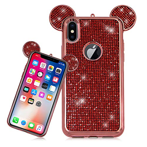 LCHDA Cover iPhone 6 6S Topolino Orecchie e Brillantini 3D Cartoon Mouse Laccio in Silicone Custodia Glitter Strass Diamanti Rigida Copertina per Apple iPhone 6 6S-Rosso