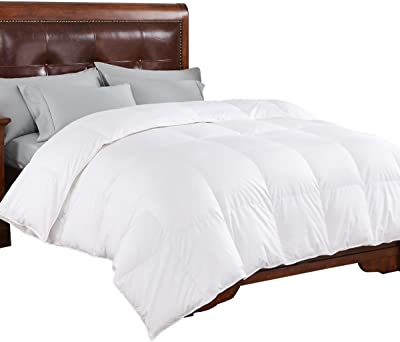 PEACE NEST Luxurious White, 600 Fill Power, 400 Thread Count, 100% Cotton Cover Goose Down Comforter, Full/Queen Size
