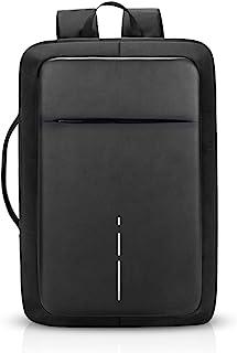 3 en 1 Mochila Hombres Business USB Laptop Bolsa de Mano Commuter Estudiante Outdoor Viaje Bolso de Hombro Impermeable Poliéster Negro