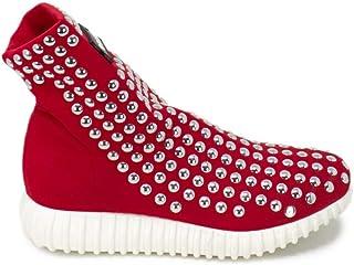 GIOSELIN Women's LIGHTSTUDSRED Red Polyester Slip On Sneakers