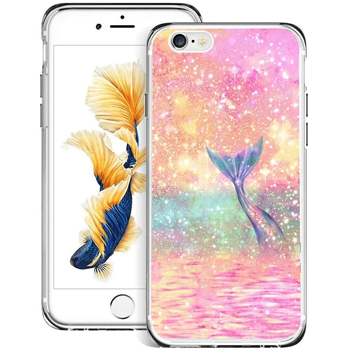 Christy Mathisop Series Pink Rainbow Fish Tail Pattern iPhone 6/6S Plus Phone Case ,Clear Scratch-Resistant Shock Absorption Flexible Protective CoveriPhone 6/6S Plus case Glitter Mermaid