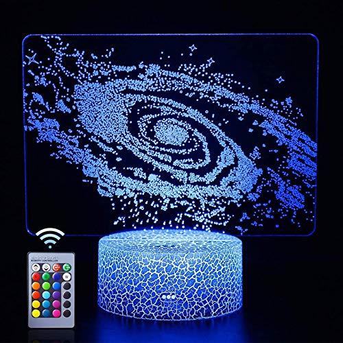 Luz Nocturna para niños, lámpara de ilusión del Sistema Solar 3D, Interruptor táctil de Cambio automático de 16 Colores, Regalo de cumpleaños con luz 3D