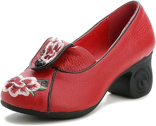ZHRUI zapatos de Cuero de la Flor del Bordado del Bloque de Mary Jane de Las mujeres (Color   rojo, tamaño   EU 37)