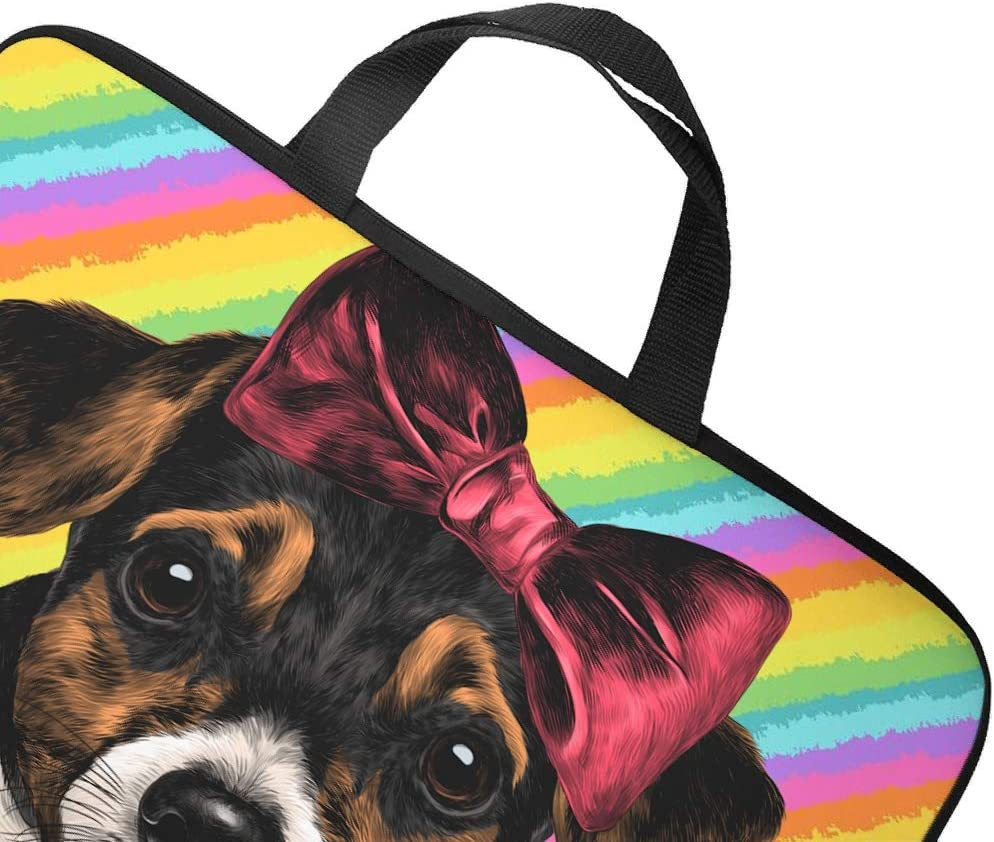 Trendy Bow Knot Dog Animal Laptop Bag Teen Students Pattern Notebook Case Dust Proof Neoprene Fabric Notebook Sleeve White 13inch