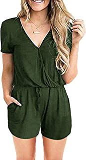 PRETTYGARDEN Women's Summer Casual Short Sleeve Loose Shorts Jumpsuit Rompers Overall with Pockets