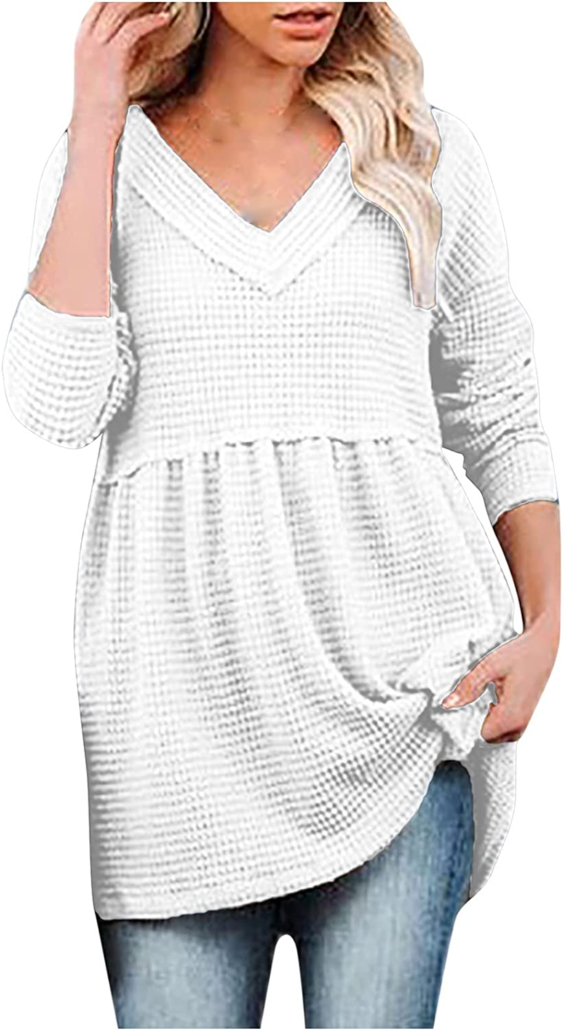 Kanzd Sweaters for Women Fashion Long Sleeve V Neck Babydoll Cute Tunic Sweaters Casual Loose Fall Knitted Sweatershirts