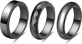 مجموعة خواتم هيماتيت ZINFANDEL للرجال والنساء، 3 قطع تمتص الطاقة السلبية تخفف القلق وتوازن مجوهرات الشاكرا ، مقاس 6-10