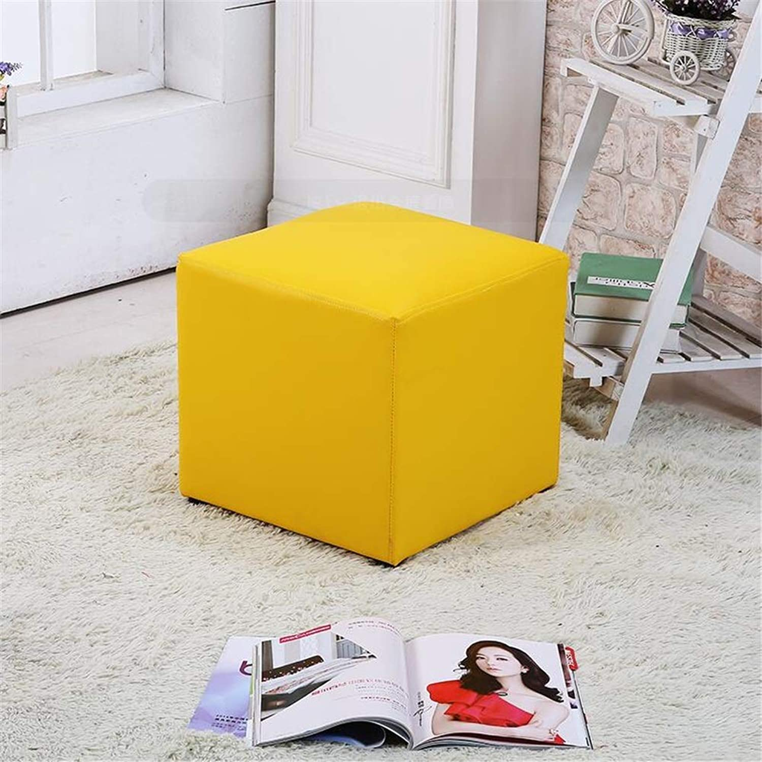 Kids Stool, Solid Wood shoes Bench Bench Sofa Stool Stool Fashion Stool Creative Small Leather Bench Piern Stool Stool Tea Table Stool (color   Yellow, Size   27  27  27cm)