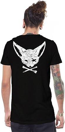 Camiseta Negra de Skate, Arte gráfico Original de Zorro Pirata - Ropa Urbana Alternativa para Hombre