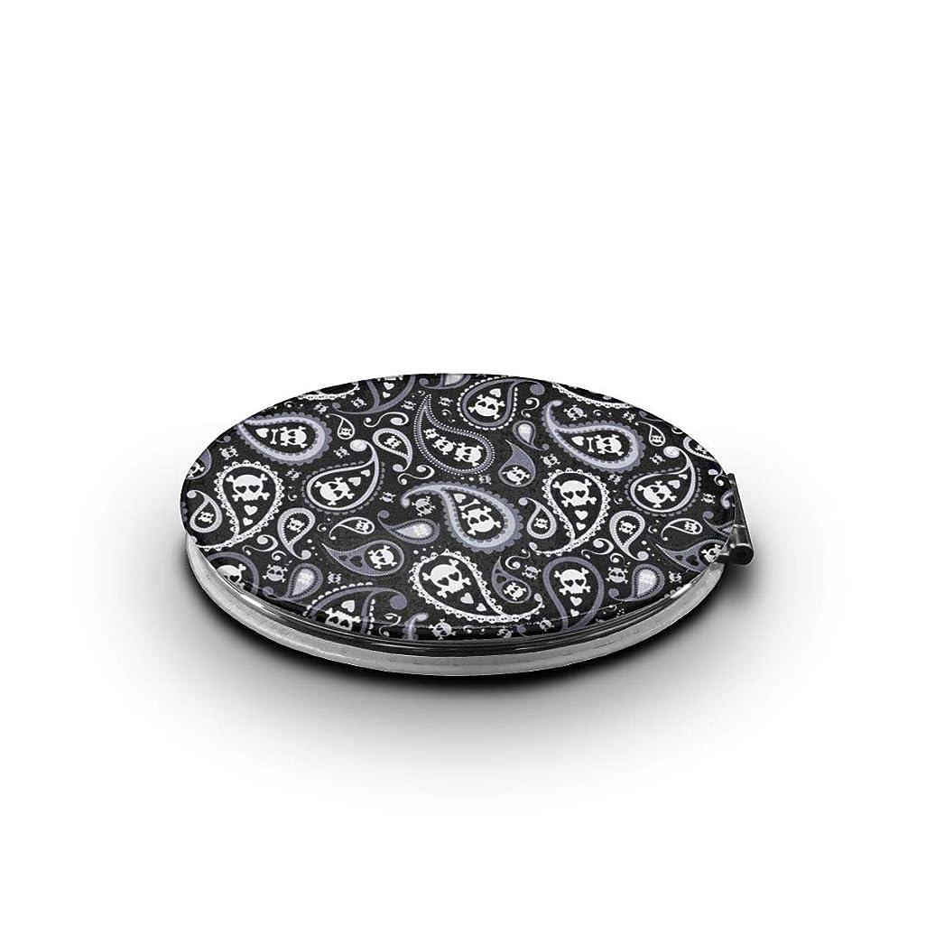 製油所速報同じ携帯ミラー スカル ブラックミニ化粧鏡 化粧鏡 3倍拡大鏡+等倍鏡 両面化粧鏡 楕円形 携帯型 折り畳み式 コンパクト鏡 外出に 持ち運び便利 超軽量 おしゃれ 9.0X6.6CM