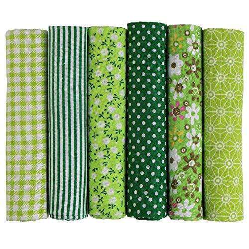 UOOOM 6pcs 50x 50cm, diseño de retales algodón Tejido DIY hecho a mano Costura Quilting tela diseños diferentes (Verde)