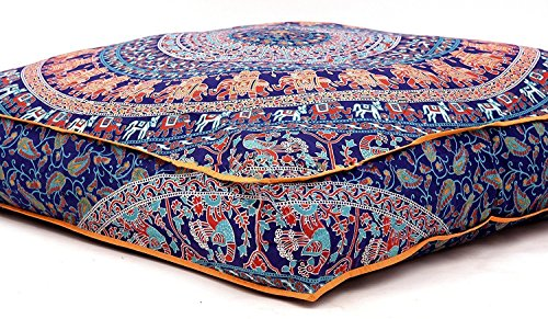 Krati Exports Indian Floor Pillow Cushion Covers in Mandala Design (Blue Multi)