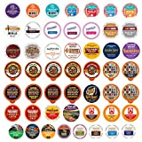 Crazy Cups Coffee Variety Pack, Single Serve Pods for Keurig K-Cup, Assorted Flavors like Espresso, Dark Roast, Breakfast Blend (Pack of 50)