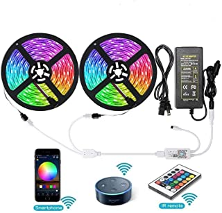 Aptech RGB LED Light Strips with Remote, Dimmable LED Rope Lights, 300LED 5050, IP65 Waterproof WiFi Strip Lights Outdoor,...
