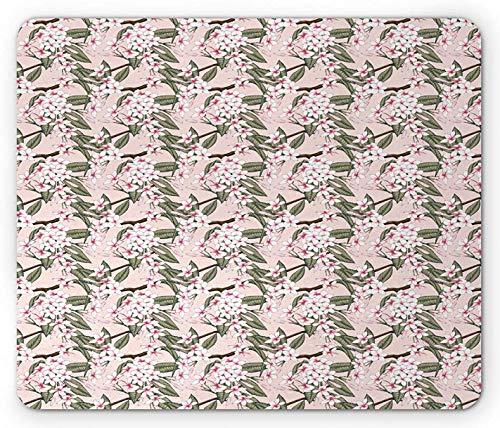 Aloha Mouse Pad, Illustration von grünen Frangipani-Blumen auf Zweigen Blühende Botanik-Szene,...