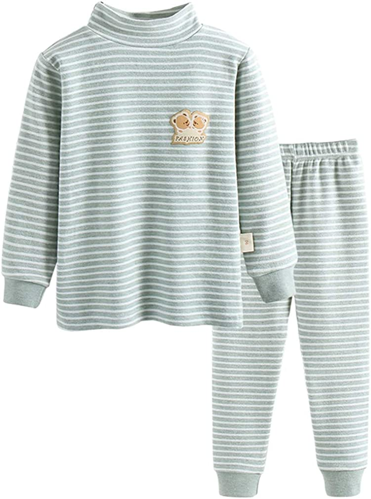 GLEAMING GRAIN Little Boys Thermal Underwear Boys Long Sleeve Striped Jammies Organic Cotton Apparel PJ Set Grey 5T