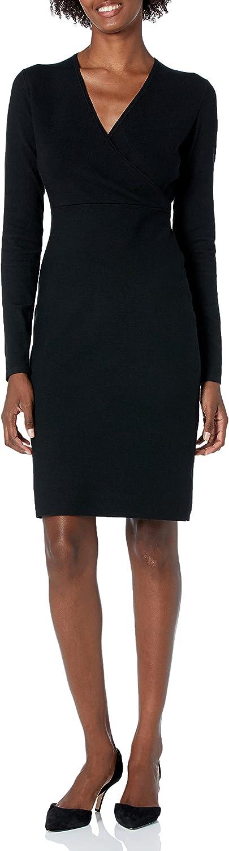 Lark & Ro Women's Long Sleeve Faux Wrap Sheath Dress