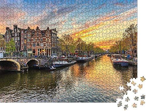 Juegos de rompecabezas de 500 piezas para la familia Amsterdam Sunset City Silhouette on The Canal Bank, Amsterdam, Países Bajos Rompecabezas para adultos de madera grande