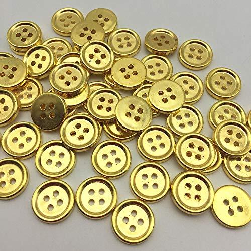ZJDY 4 Agujeros de 13 mm Camisa metálica de Plata/Oro/Redondo de Cobre Amarillo Redondos for la Ropa de Scrapbooking de Costura Accesorios Adornos (Color : Gold)