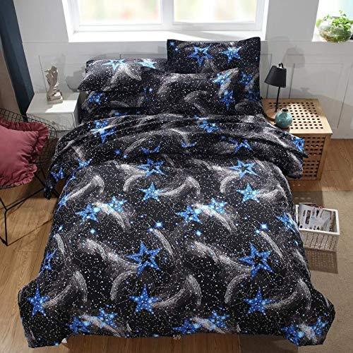 HDBUJ beddengoed van kunstvezel, kreukbestendig, dekbedovertrek met sterrenmotief, met twee bijpassende kussenslopen, zwart